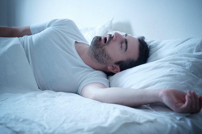 a man snoring